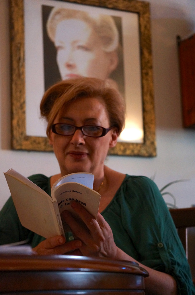 Artemisia Bartolini reads the first book of poems she ever wrote. Photo by Elizabeth Collins / Gonzaga in Cagli.
