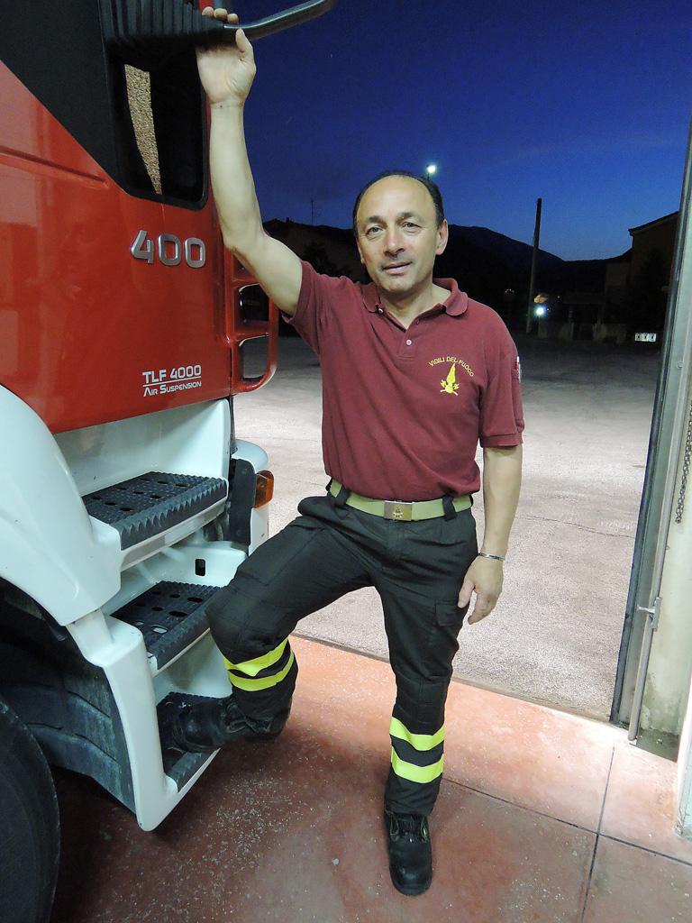Casavecchia Maurizio talks about the different types of fire equipment in Cagli on June 17, 2013. Photo by Jessica Mico-Wentworth / Gonzaga in Cagli