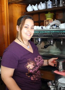 Melissa Luchetti preparing one of her famous Cappuccinos